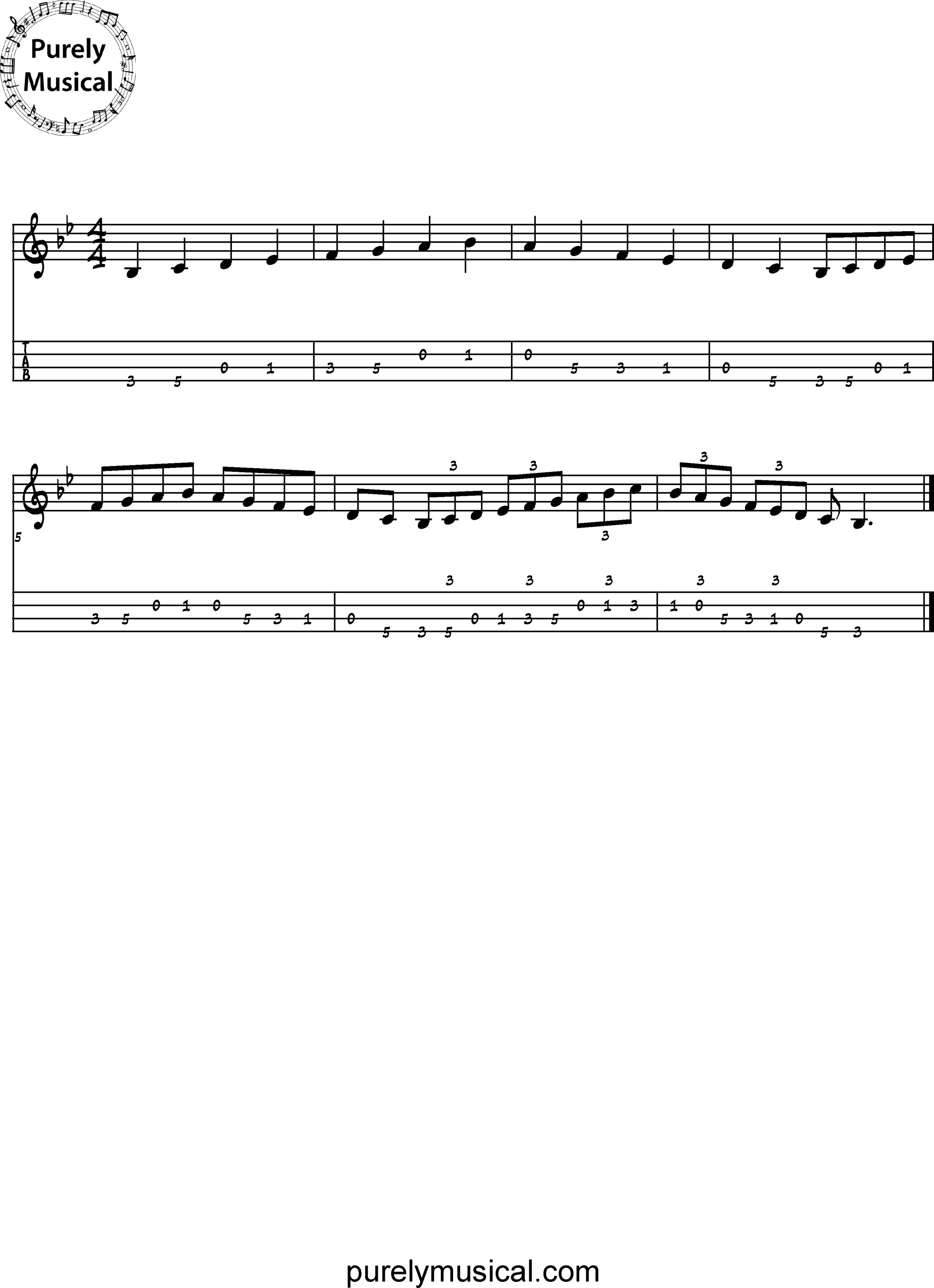 Intermediate Tenor Scale Bb Major Scale