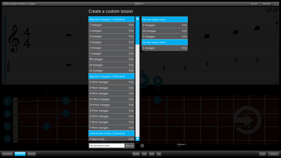 Purely Lute Screenshot Custom Lesson